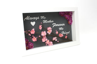 Customised White Shadow Box - Always My Mother - Artificial Flowers Orchids and Cherry Blossom - FREE SHIPPING AUSTRALIA WIDE
