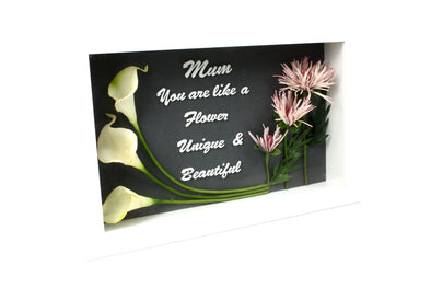 Customised White Shadow Box - You are like a Flower - Artificial Flowers Calla Lily and Spikey Mum - FREE SHIPPING AUSTRALIA WIDE