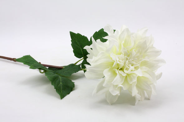 Dahlia Large Artificial Flower With Curl Petals - White 62cm