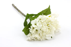 Hydrangea Real Touch Artificial Flower - White 40cm