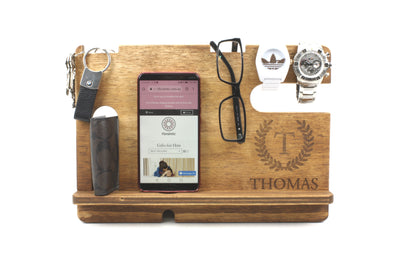 Personalised Stained Wooden Phone & Accessories Docking Station - Walnut - fathers day gift - gifts for him