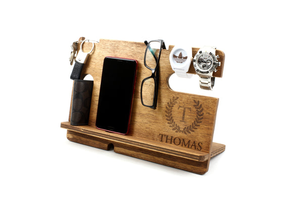 Personalised Stained Wooden Phone & Accessories Docking Station - Walnut - christmas gift - gifts for him