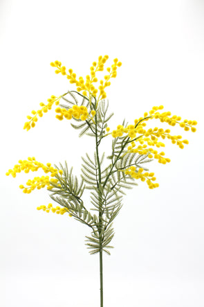 Mimosa Wattle Artificial Flower Spray - Yellow 85cm