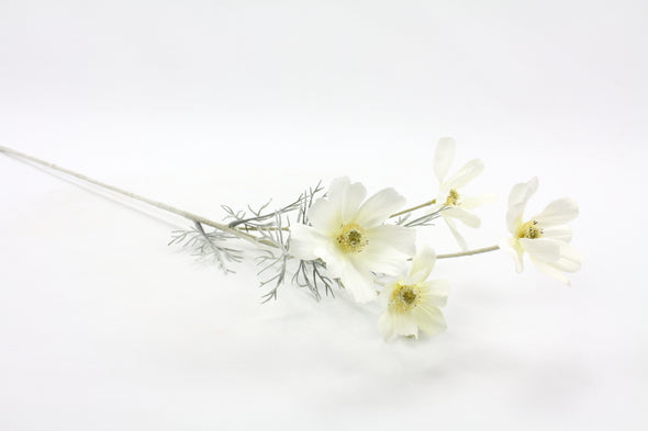 Cosmos Artificial Flower Spray - White 60cm
