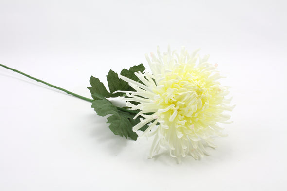 Chrysanthemum Spider Ball Artificial Flower - White 66cm