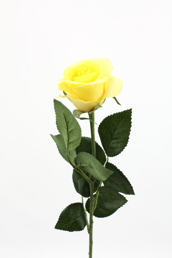 Rose Half Bloom Yellow Real Touch 55cm