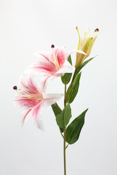 Casablanca Tiger Lily (2 heads) Real Touch Artificial Flower - Soft Pink 80cm