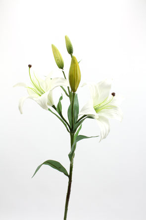 Tiger Lily (2 Heads 3 buds) White 86cm