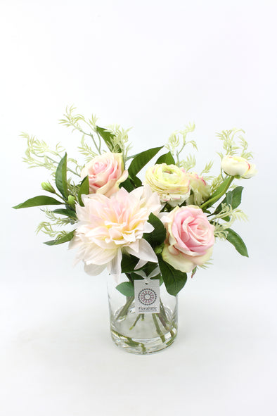 Pink and Green Dahlia, Roses and Ranunculus Artificial Flower Arrangement