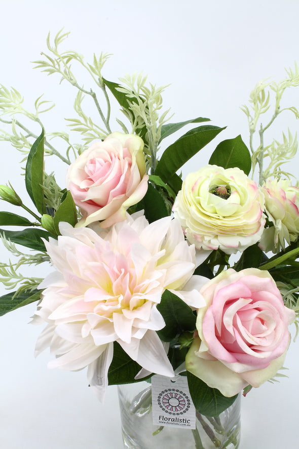 real touch ranunculus, rose and dahlia arrangement