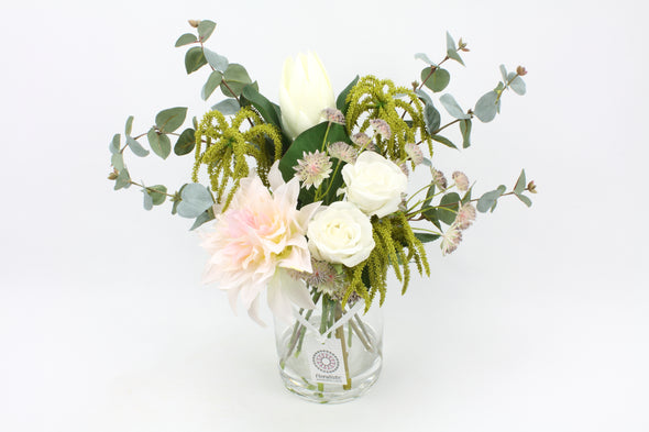 artificial dahlia and rose flower arrangement with artificial water