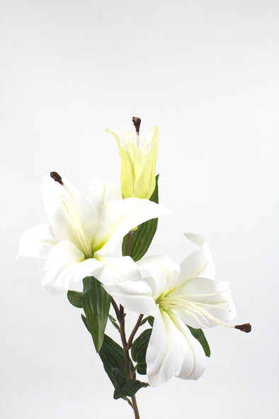 Casablanca Tiger Lily (2 heads) Real Touch Artificial Flower - White 80cm