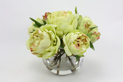 Green Pink Peony Artificial Flower Arrangement - Medium
