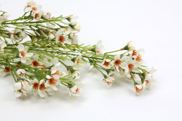 Wax Flower Artificial Flower Spray - White Brown 68cm