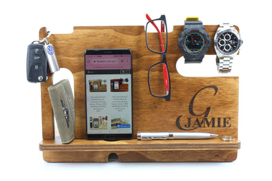 Personalised Stained Wooden Phone & Accessories Docking Station - Walnut- father's day gift - gift for dad