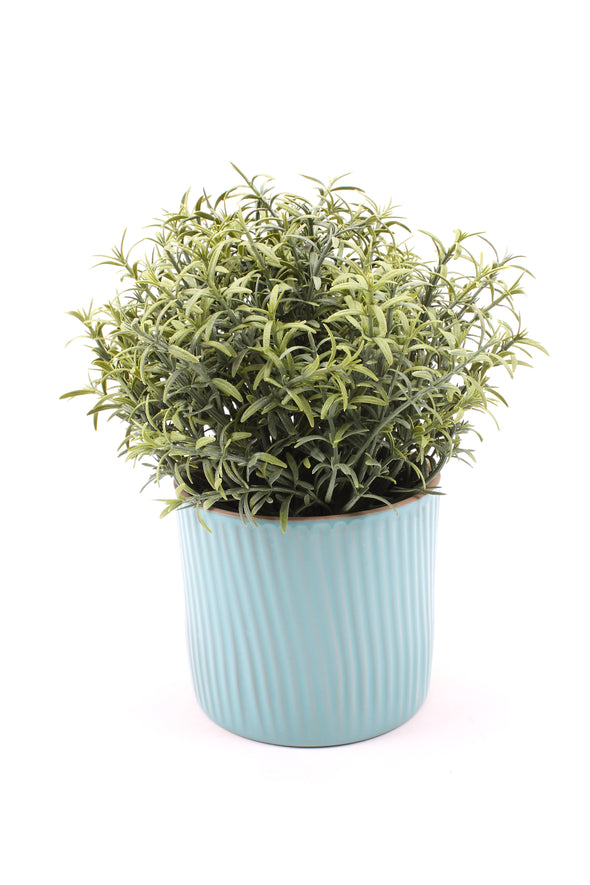 Rosemary Artificial Plant in Turquoise Stone Pot