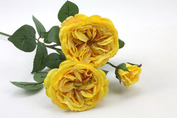 Louis Rose Artificial Flower Spray- Yellow 60cm