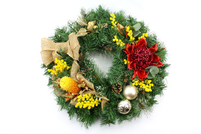 Artificial Flower Native Christmas Wreath Large 50cm - Free shipping within Australia