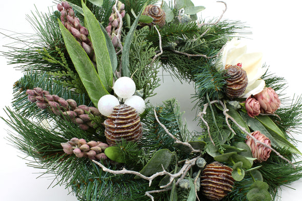 Artificial Flower Christmas Wreath with Magnolia and Protea Bud Medium 45cm - Free shipping within Australia