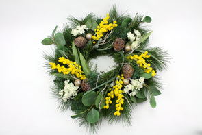 Artificial Flower Wattle Christmas Wreath Medium 45cm - Free shipping within Australia