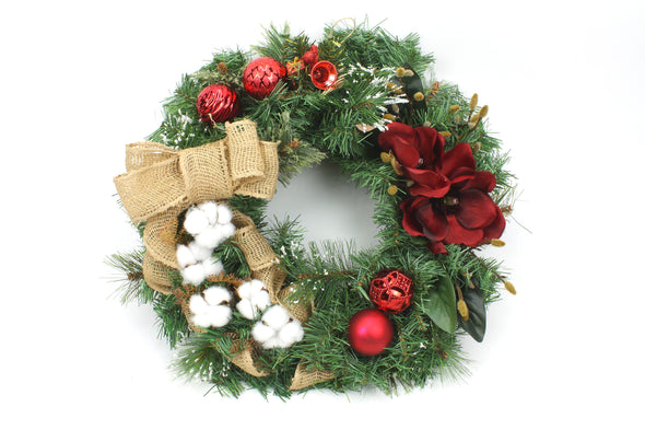 Artificial Flower Christmas Wreath with Magnolia and Cotton Flowers Large 50cm - Free shipping within Australia