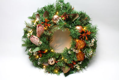 Artificial Flower Christmas Wreath with Native Protea and Pincushion Large 50cm - Free shipping within Australia