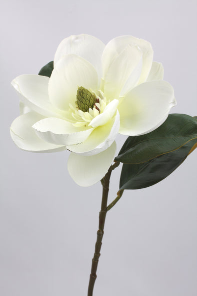 Magnolia Stem Large Artificial Flower Cream White 73cm