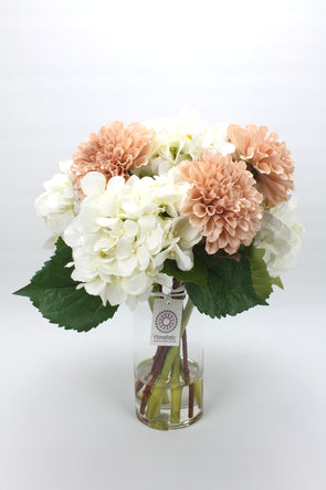 White Hydrangea and Dusty Pink Dahlia Artificial Flower Arrangement