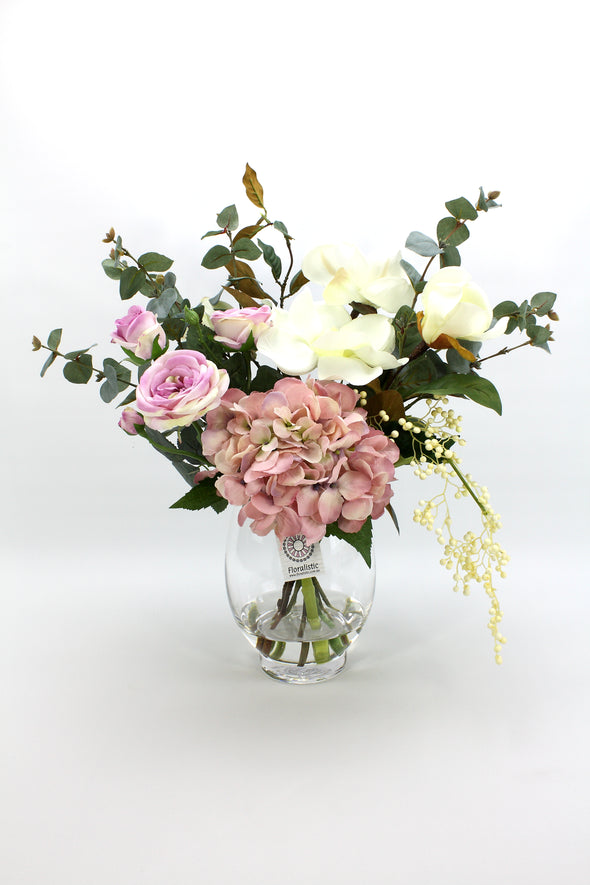 Hydrangea Magnolia and Sabrina Rose Artificial Flower Arrangement