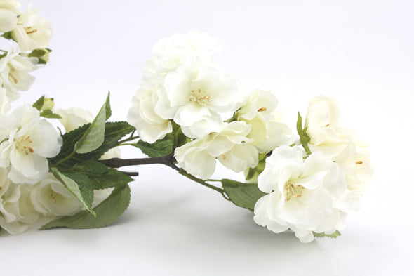 Apple Blossom Artificial Flower Stem - White 114cm