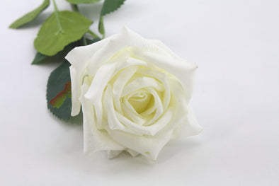 Rose Lola Real Touch Artificial Flower - White 46cm