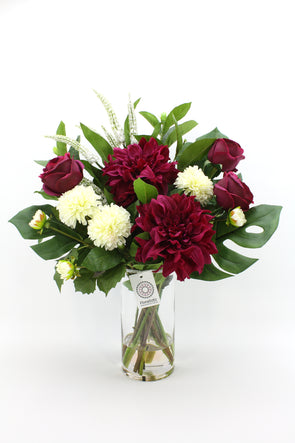 Burgundy and White Dahlia with Burgundy David Austen Roses Artificial Flower Arrangement