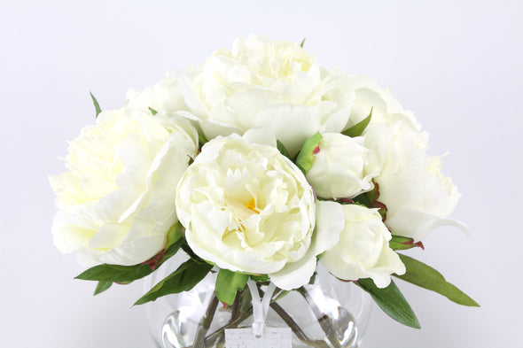 White Peony Artificial Flower Arrangement - Small
