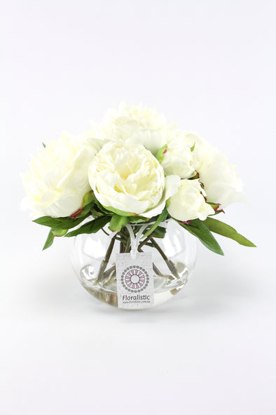 White Peony Artificial Flower Arrangement - Medium