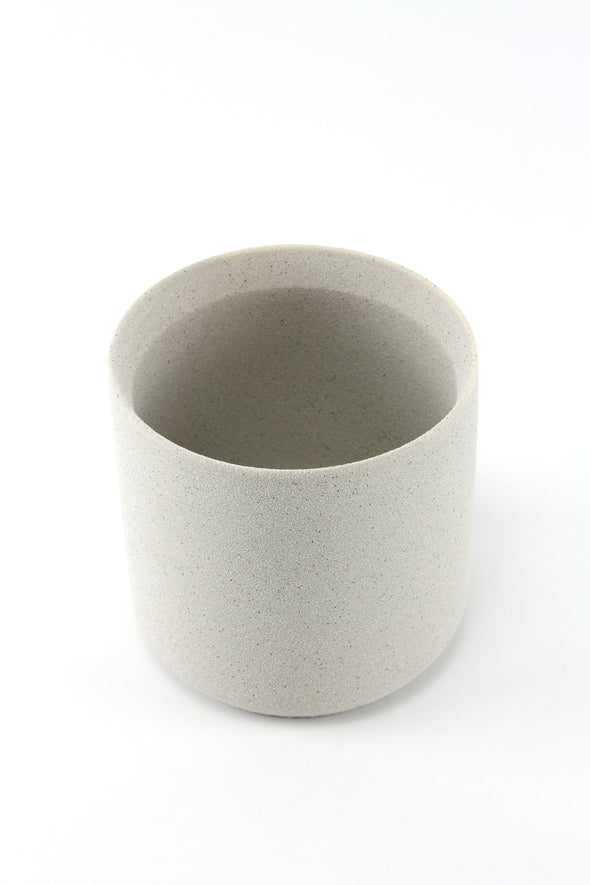 Ceramic Cylinder Pot - Grain Light Grey - Medium 13cm x 13cm