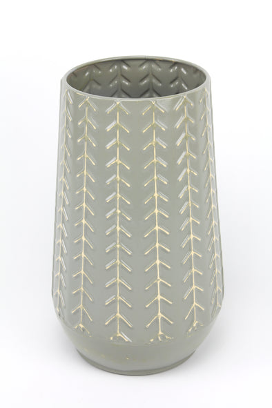 Metal Vase Pot With High Gloss Ceramic Look - Sage Green 29cmH x 18cmW
