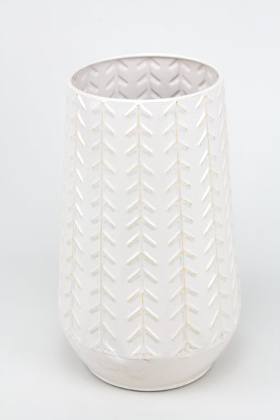 Metal Vase Pot With High Gloss Ceramic Look - Whitewash 29cmH x 18cmW