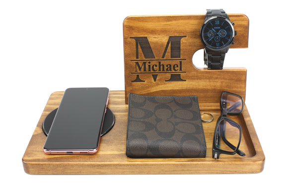 Personalised Stained Wooden Wireless Charging Phone & Accessories Docking Station - Walnut - christmas gift - FREE SHIPPING WITHIN AUSTRALIA