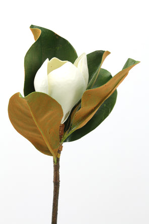 Magnolia Stem Artificial Flower Early Bloom White Real Touch 60cm