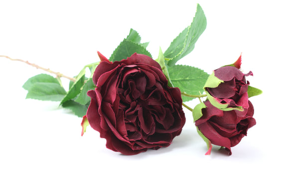 Rose David Austin Centifolia Artificial Flower Spray Burgundy 62cm