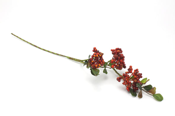 Berry Artificial Flower Spray x3 Small Clusters - Red 48cm