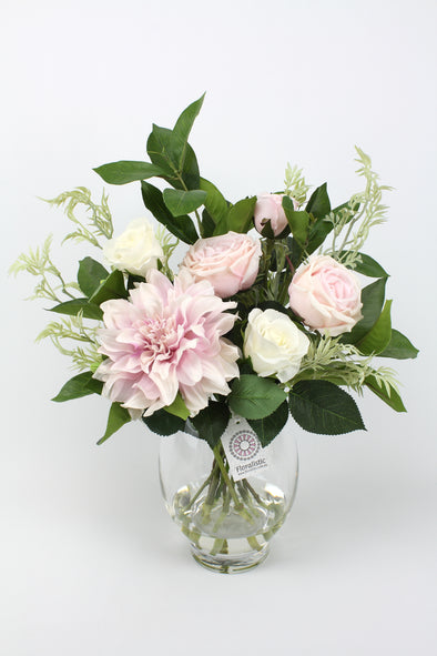 Pink Lilac Dahlia, Real Touch Pink and White Roses Artificial Flower Arrangement