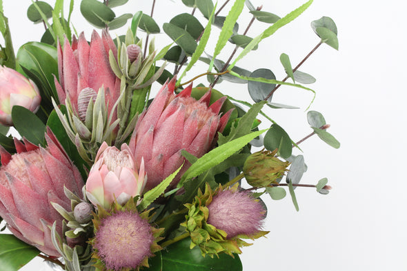 Pink Native Protea, Petite Protea and Thistle Artificial Flower Arrangement