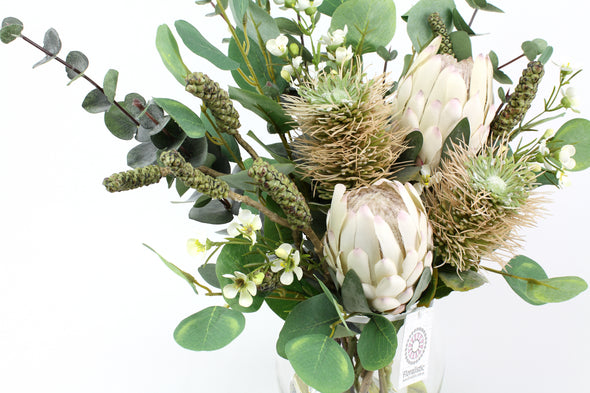 Cream Pink Protea, Protea Leaucospermum Hybrid and Bottle Brush Pod Native Artificial Flower Arrangement