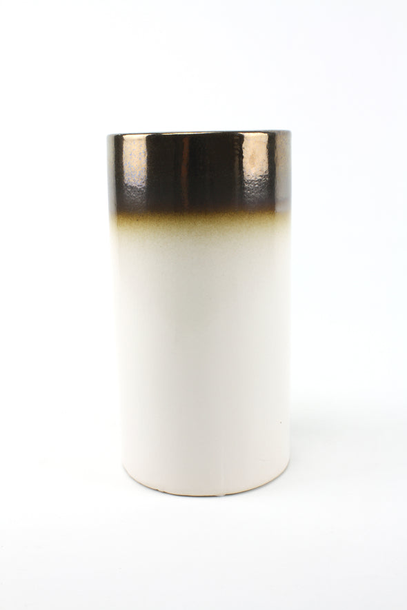 Vase Ceramic Cylinder Copper & White 12x23cm