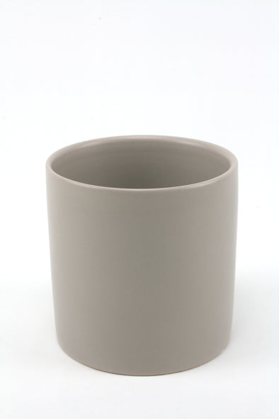 Pot Ceramic Cylinder Satin Matte Light Grey 12x12.5