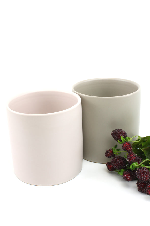 Pot Ceramic Cylinder Satin Matte Soft Pink 12x12.5