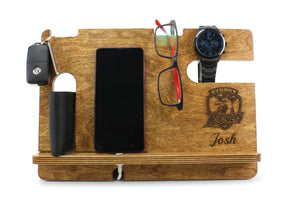 Personalised Stained Wooden Phone & Accessories Docking Station for all NRL Fans - father's day gift - gift for dad