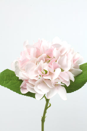 Hydrangea Real Touch Artificial Flower Stem - Light Pink 47cm