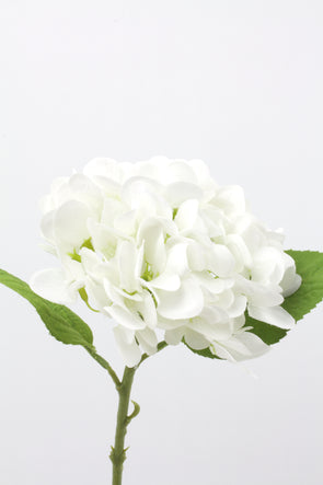 Hydrangea Real Touch Artificial Flower Stem - White 47cm